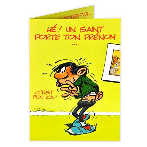 Gaston Lagaffe glct0057Bonne fête Saint Heilige Vorname mit Umschlag illustriert passender