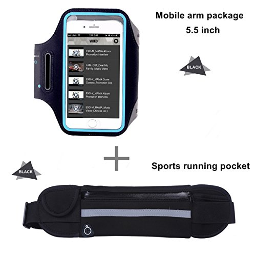 Sport Armband Handy Halterung + Running Gürtel Taille Pack, Schweißfest mit Kopfhörer Loch für iPhone 6/6S/7/7plus/8/8 Plus für Marathon, Übung, Wandern, Workout(Armbandtasche mit Touch + Hüfttasche, Schwarz)