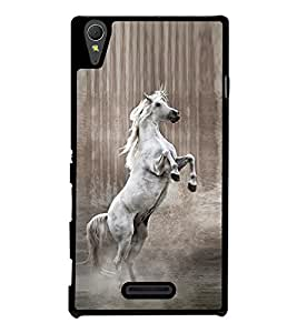 Fuson Premium 2D Back Case Cover Jumping Horse With Brown Background Degined For Sony Xperia T3