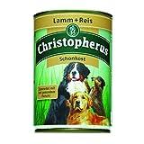 Christopherus Alleinfutter für Hunde, Schonkost, Nassfutter, Erwachsener Hund, Lamm/ Reis, Fleischmahlzeit 400 g