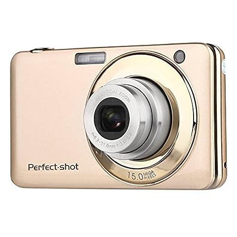 Stoga V600 2.7 Zoll TFT Digitalkamera 15MP 1280 X 720 HD Video und 5 X optische Zoom Lithium Batterie Anti-Shake Lächeln Capture Digitalkamera - Gold