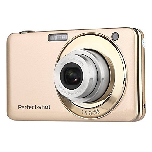 Stoga V600 2.7 Zoll TFT Digitalkamera 15MP 1280 X 720 HD Video und 5 X optische Zoom Lithium Batterie Anti-Shake Lächeln Capture Digitalkamera - Gold