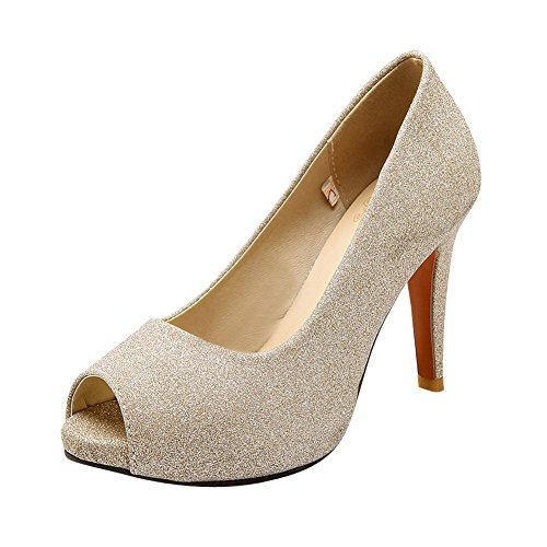 Mee Shoes Damen Peep toe high heels Plateau Pailleten Pumps Gold