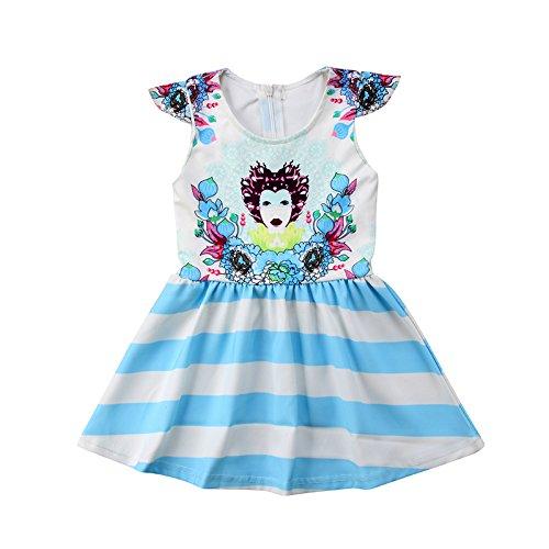 ZXCVBN Kleinkind Kinder Mädchen Sommerkleid Fly Sleeve Floral Cartoon Druck Tutu Prinzessin Baby Formelle Festzug Party Kleider Sommerkleid,12M