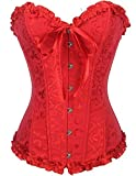 Burvogue Femmes Lacet à Armature Nuptial Haut Corset Overbust Bustier - Rouge, Medium