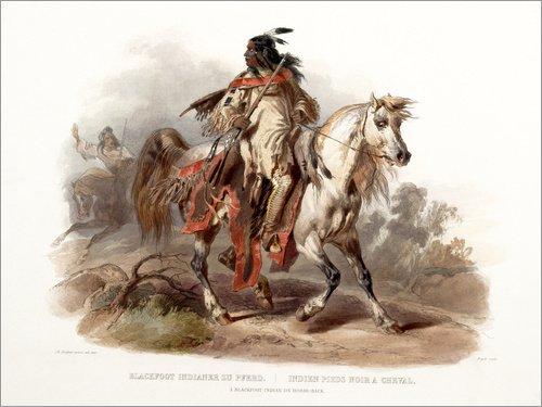 Traditionellen Vereinigten Staaten Kostüm - Posterlounge Alubild 80 x 60 cm: EIN Blackfoot Indianer zu Pferd von Karl Bodmer