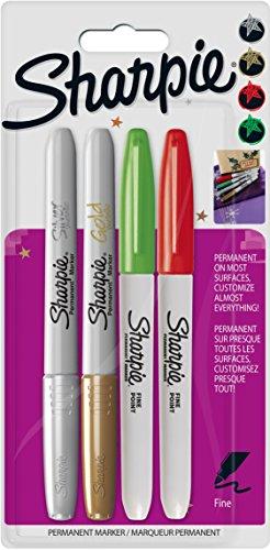 Sharpie Permanentmarker mit feiner Spitze, 4 Stück, gold/silber/rot/grün (Gold Sharpie Extra Feine Spitze)