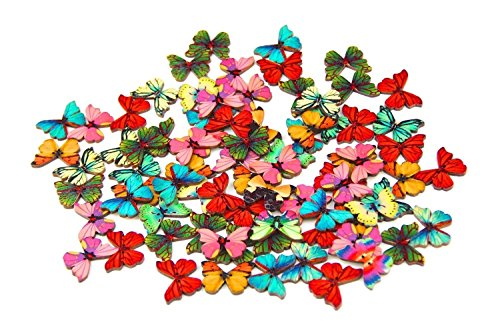 Pack-of-50PCS-Butterflies-Buttons-Mixed-Wood-Buttons-Sewing-Scrapbooking-Flowers-Shaped-2-Holes
