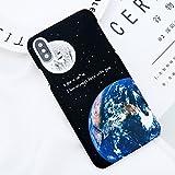 POHONOEO Bande Dessinée Terre Lune Imprimer Cas de Téléphone pour iPhone X Mat Dur PC Stripe Couverture Arrière pour iPhone 6 6s 7 8 Plus 5 5s Se Cas, 2507, pour iPhone 6 6s Plus