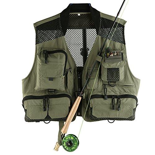 les funciones al aire libre Chaleco Chaleco de pesca Multi-bolsillo de malla de secado rápido chaleco DYMJ-02 (Naranjas De Halloween)