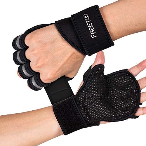 FREETOO Gants Musculation Gant Sport Hommes Coussinets en EVA Protection des Paumes de Main Respirants et Antidérapants pour Haltérophilie Haltère Traction et tous les Pratiquants de Fitness 2 Pcs(XL)