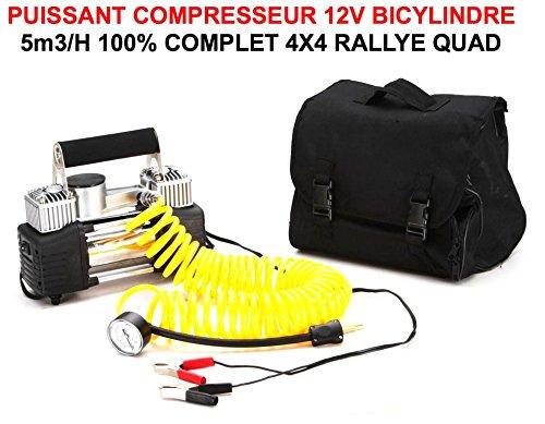 PUISSANT COMPRESSEUR 12V BICYLINDRE 12V 5M3/H COMPACT FACILE A ENCASTRER ! SACOCHE ET ACCESSOIRES FOURNIS ! RAID PREPARATION 4X4