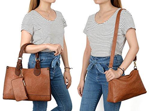 1627ef94b361d UTO Damen Handtasche Set 3 Stücke Bag PU Leder Shopper klein Schultertasche  Geldbörse Schulterriemen schwarz braun