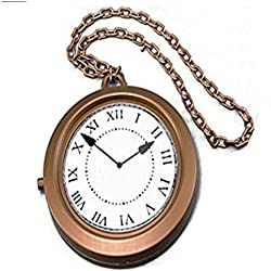 Sofias Closet Fancy Dress Giant Jumbo Clock Necklace Pocket Watch Rapper White Rabbit Alice