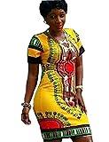 Yuncai Frauen Bodycon Kurzärmelige Traditionellen Afrikanisch Gedrucktes Dashiki Kleid