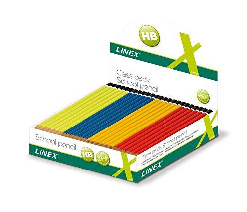 LINEX 400037820 Schulbleistift-Displaybox Sechskantiger Bleistifte HB mit bruchfester Mine und lackiertem Ende in 4 Farben: rot, gelb, blau und Limettengrün Display mit 144 Stück, sortiert nach Farben