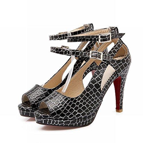 Mee Shoes Damen modern reizvoll Peep toe ankle strap Knöchelriemchen Plaid Schnalle Nubukleder Blockabsatz Plateau Sandalen Schwarz(PU)
