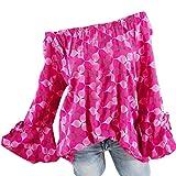 Xiantime Damen Oversize Bluse Shirt Große Größen Vintage Locker V-Ausschnitt Shirts Top Schulterfrei Spitze Kurzarm Tunika S-5XL