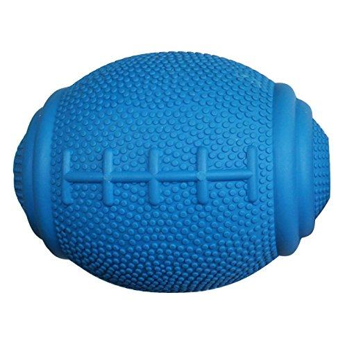 PlayfulSpirit Tricky Treat Rugby Palla Dispenser Croccantini - Gioco Interattivo per Cani: Ottimo Gioco da Riporto o da Lancio, per Alleviare Stress e Combattere la Noia (L, Blu)