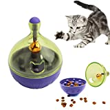 VWH Pet Dog Cat Tumbler Leakage Food Ball Toy Snack Drain Feeding Tableware Dispenser With Metal Bell (cat)