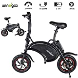Windgoo Bicicleta Electrica 36V Plegable - E-Bike 12', Actualizar Bici Electrica Urbana Ligera para Adulto, Black Matte