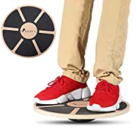 ROMIX® Wooden Balance Board, Wobble Board Training Physio 40cm Non-Slip Round Self Fitness Trainer Body Exercise Gym Sports Performance Enhancement Rehabilitation Physical Therapy for Boys Men Women