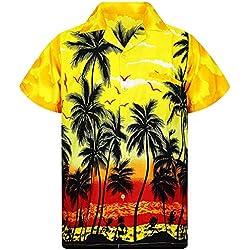 Hombre Camiseta,MISSWongg Estilo Casual Camisas Botón Casual de Moda para Hombre Estampado de Hawai Playa Manga Corta Blusa de Secado rápido Suave Cómodo Transpirable Camisa Suelta Estampada