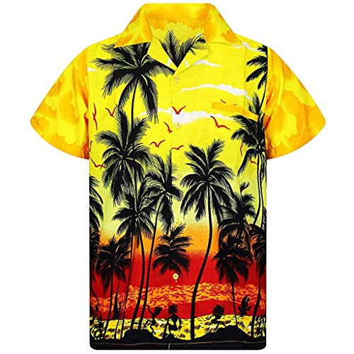 T-Shirt Herren Hawaii Hemd Kurzarm Flamingos Aloha Party Shirt Palm Strand Drucken Shirts Beiläufig Taste schnell trockene Bluse Sommerkleid Gelb Shirt