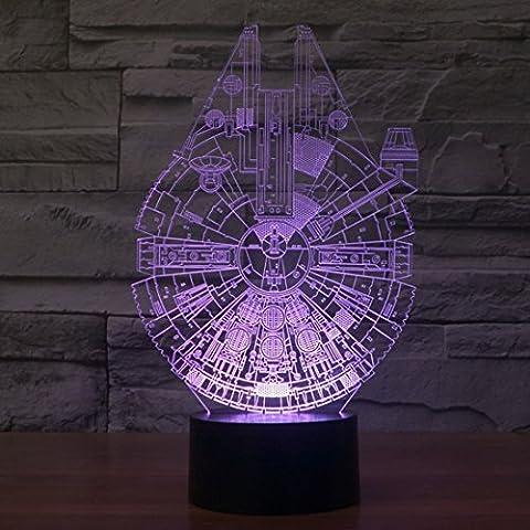 iwish 3D Illusion optique Lamp, Millennium Falcon Model, 7 changement de couleur,bouton USB de bureau tactile LED Light Table Lamp