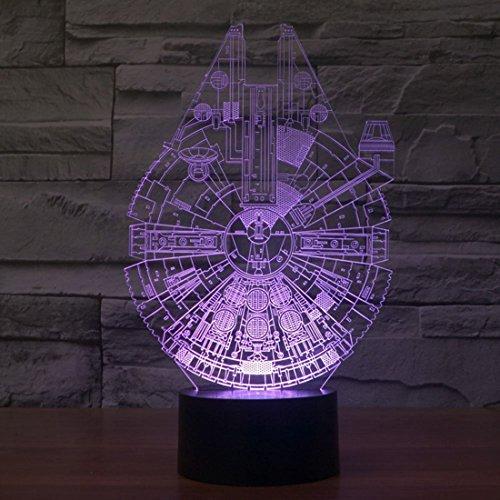 iwish 3D Optical Illusion luce notturna,Millennium Falcon Modello,7 cambiamento di colore pulsante tattile USB scrittorio LED lampada da tavolo luce