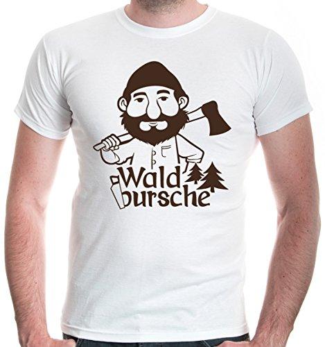 buXsbaum Herren T-Shirt Waldbursche | Waldarbeiter Förster Holzfäller | XXL, Weiß (T-shirt Baum, Weihnachten, Weißes)