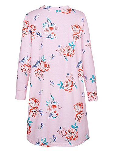 Cardigan Long Femme Boheme Chic Veste en Tricot Motif Fleurie Imprimé Manteau Automne à Manches Longues Outwear Gilet Ouvert Fluide Jaquette Kimono Top – Landove Rose