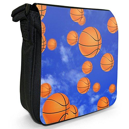 It's Raining-Borsa a spalla piccola di tela, colore: nero, taglia: s Nero (It's Raining Basketball Balls)