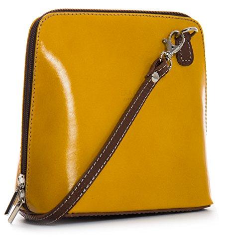 Big Handbag Shop, Borsa a tracolla donna One Giallo (Yellow - Brown)