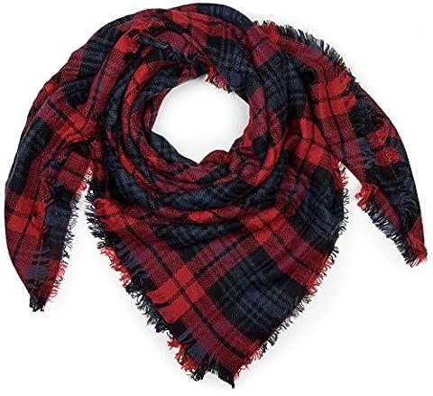 styleBREAKER quadratischer XXL Schal, Deckenschal mit schottischem Tartan Plaid Karo Muster und Fransen, Unisex 01018136,