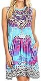 Sakkas P29 - Ebele Kurzes ärmelloses Kleid mit Strasssteinen drapiert vorne und Taschen - 17218-Turqmosaic - OS