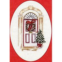 Tarjeta de Navidad de punto de cruz Kit–Puerta de Navidad
