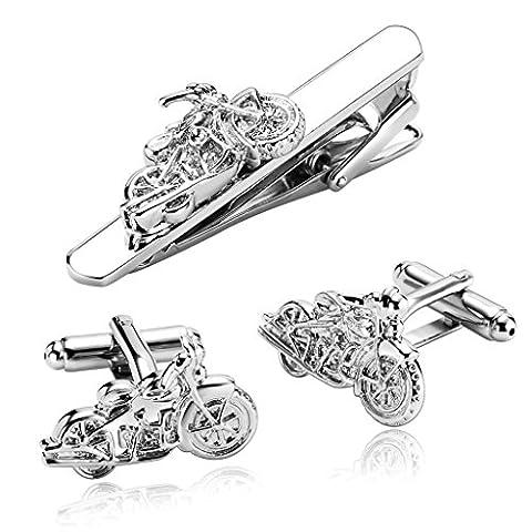 Epinki Men's Stainless Steel Silver Motorcycle Street Bike Cruiser Cufflinks and Tie Clip Set