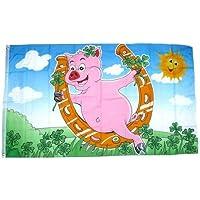 90 x 150 cm Flaggenfritze/® Flagge//Fahne Frohes Neues Jahr Gl/ücksschwein