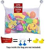 Baby Badespielzeug Aufbewahrung - 1x Badewannen Spielzeugnetz + 4x kräftige Saunäpfen + 2x Badeente für Ihr Kleinkind Weiß