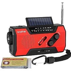 IntiPal Multifunktion Solar Dynamo Kurbel Radio mit 2000mAh Power Bank Taschenlampe Leselampe Alarm Rettungsdecke (Rot)