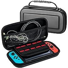 LUZWAY Funda Bolsa Protectora EVA para Nintendo Switch Console y Accesorios, 20 Compartimentos para Tarjetas, Fabricado de Material EVA Dura Robusto. Ideal para Llevar la Nintendo Switch y Sus Accesorios