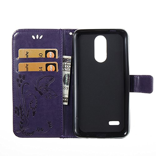 EKINHUI Case Cover Horizontale Folio Flip Stand Muster PU Leder Geldbörse Tasche Tasche mit geprägten Blumen & Lanyard & Card Slots für LG K4 2017 European Edition ( Color : Rose ) Purple
