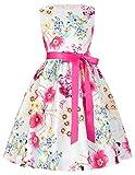 GRACE KARIN Rundausschnitt Aermellos Blumen Muster Maedchen Kleid 6-7 Jahre CL8997-1