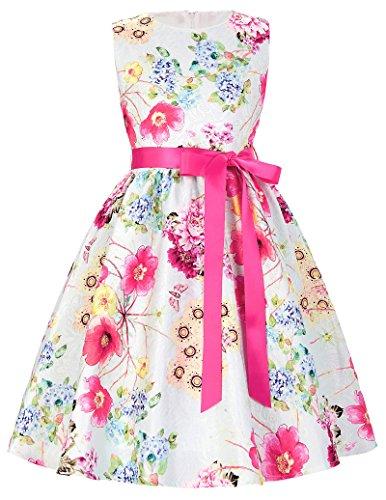 A-Linie Rundausschnitt Blumen Muster Maedchen Kleid 5-6 Jahre CL8997-1 (Für Mädchen Kleider Knöchel-länge)