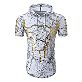 Cebbay Top con Capucha de los Hombres Moda Delgada Impresa Camisetas Ropa de Verano Manga Corta Camisas(Blanco, L)