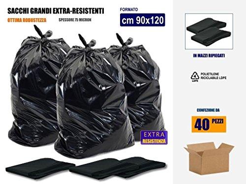 Sacchi Neri Spazzatura Grandi e Resistenti cm 90x120 (120 litri) - Scatola da 40 pezzi - In plastica di polietilene