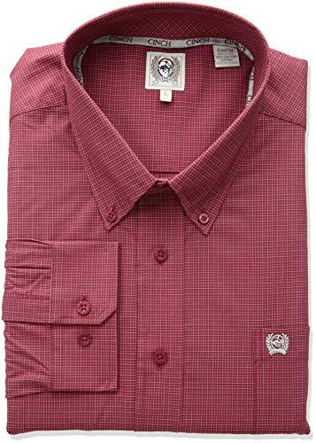 Cinch Herren Classic Fit Long Sleeve One Open Pocket Plaid Shirt Button Down Hemd, burgunderfarben, X-Groß -