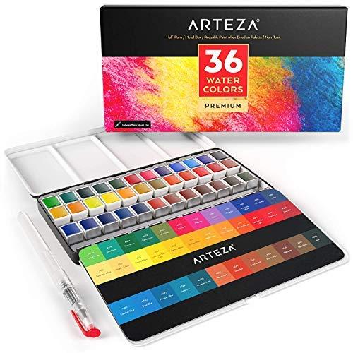 Arteza Estuche de pinturas de acuarela   36 medias pastillas   36 Colores surtidos   Incluye 1 pluma de pincel de agua