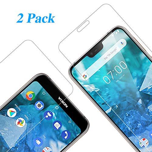 Vkaiy Nokia 7.1 2018 Pellicola Protettiva in Vetro Temperato - [Durezza 9H] [Alta Trasparente] [Nessuna Bolla] [Anti-Impronte] [ Antigraffi], Facile da Installare, [2 Pezzi]